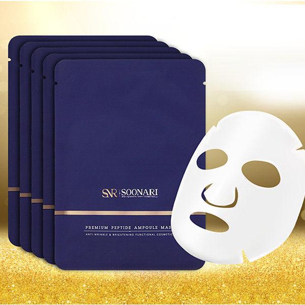 Антивозрастная маска с пептидами Premium Peptide Ampoule Mask Soonari Корея