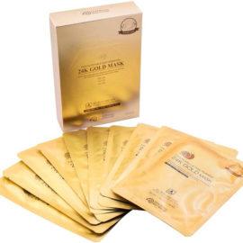 Маска для лица питательная на основе коллоидного золота Gold Snail Face Nutrition Mask 10 шт Gold Energy Snail Synergy Корея