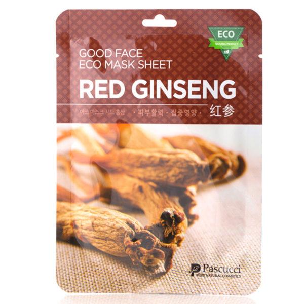 Маска с экстрактом красного женьшеня Pascucci Good Face Eco Mask Sheet Red Ginseng 10 шт. Amicell Корея