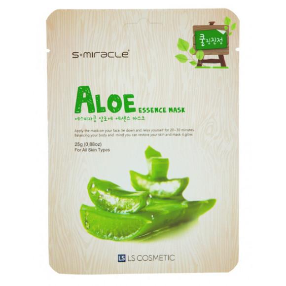 Маска для лица с экстрактом алоэ Aloe Essence Mask 10 шт. S+miracle Корея