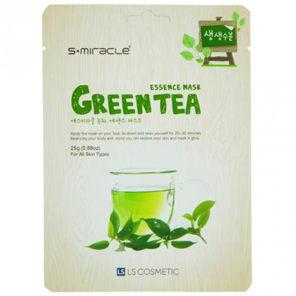 Маска для лица с экстрактом зеленого чая Green Tea Essence Mask 10 шт. S+miracle Корея
