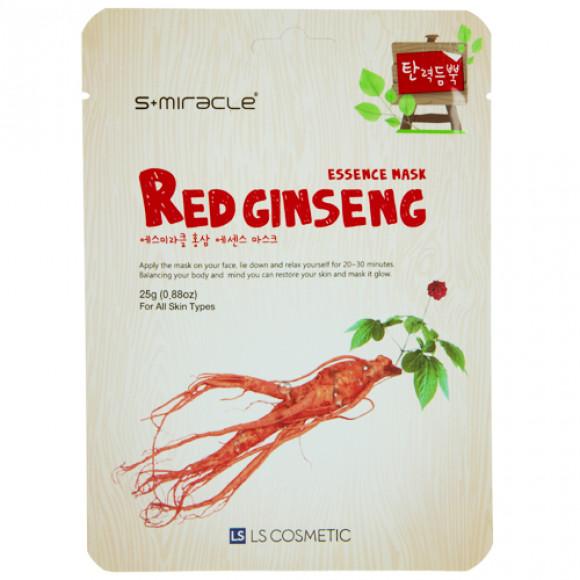 Маска для лица с экстрактом женьшеня Red Ginseng Essence Mask 10 шт. S+miracle Корея