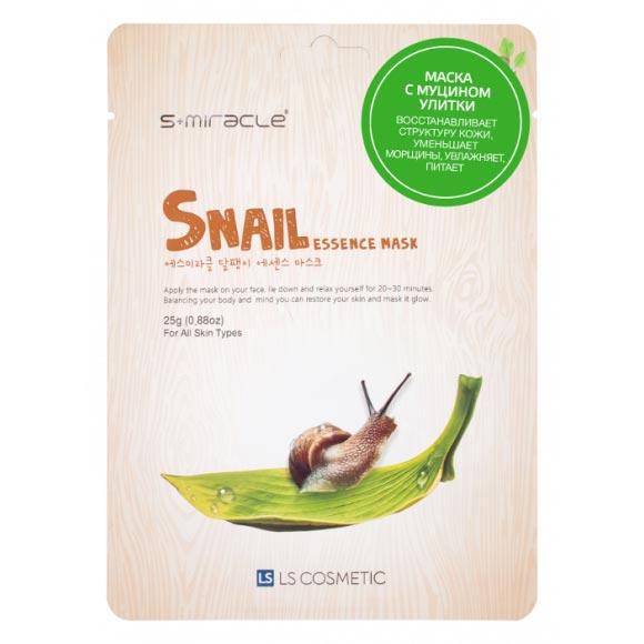 Маска для лица с фильтратом улиточного секрета Snail Essence Mask 10 шт. S+miracle Корея
