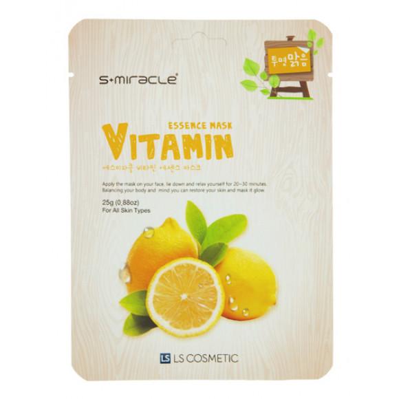 Маска для лица с витаминами Vitamin Essence Mask 10 шт. S+miracle Корея